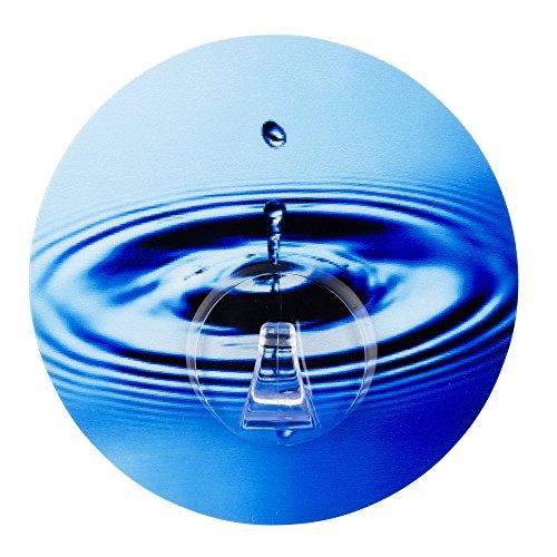 WENKO 21297100 Static-Loc Wandhaken Uno Water Circle, Badezimmer-/Küchen-/Kleiderhaken mit statischem Halt, 8,5 x 2 x 8,5 cm