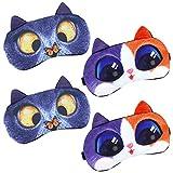 Qixuer 4 Piezas Animales Dormir Máscara,Suave Esponjosa Ajustable Protección los Ojos Linda Ojos Antifaz para Niños Niñas Mujeres Mascara de Ojos (Lindo Gato