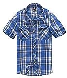 Brandit Herren Roadstar Shirt Hemd, Blau/Weiß, 4XL