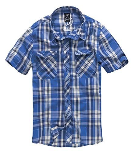 Brandit Herren Roadstar Shirt Hemd, Blau/Weiß, L
