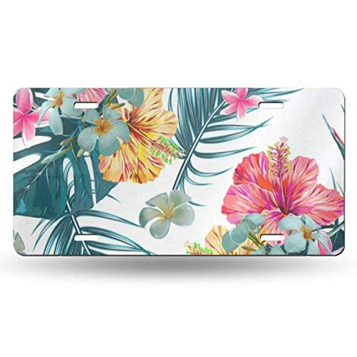 FunnyCustom License Plate Frame Floral Flowers Yellow Country Garden Amazing Aluminum Metal Tag Holder Waterproof 12 x 6 Inch Decoration