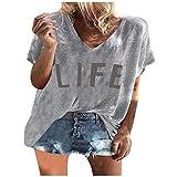 Camiseta de verano para mujer, camiseta suelta, blusa elegante, básica, camiseta de verano, manga corta, cuello en V, moda para mujer, regalos divertidos para mujeres, Gris B., XL