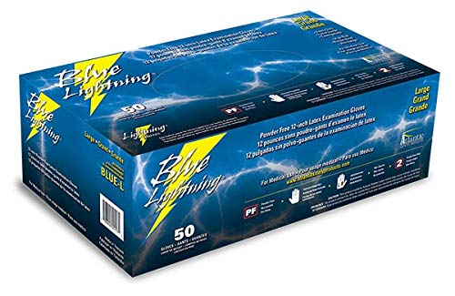 Atlantic Safety Products Blue Lightning Gloves BLUE-S, Small, Box of 50 Gloves