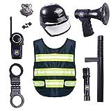 Macium 10 Piezas Policía Disfraz Niño con Policía Equipo Policía Chaleco Gorra Placa Policía Esposas Gafas de Sol Walkie Talkie Policía Juguete Kit para Niños