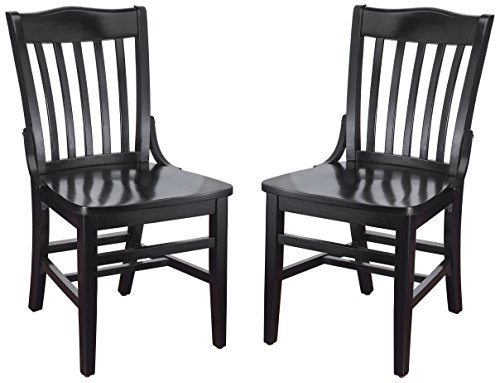 tufted dining chair set of 2s Beechwood Mountain BSD-2S-B Solid Beech Wood Side Chair in Black for Kitchen & Dining, Set of 2, NA