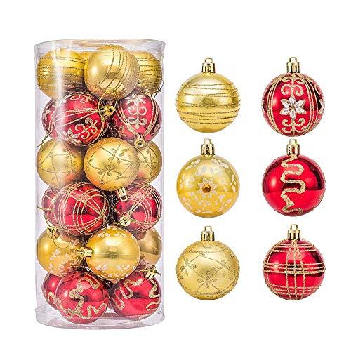 Epesl Palline di Natale, Palline Albero di Natale, 24 PCS Set di Palline per Albero di Natale, Palla per la Decorazione di Natale per lAlbero di Natale Decorazioni per Feste di Nozze (Rosso e Oro)