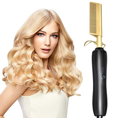 ECHOU Peluquería planchas Planas planchas enderezar Cepillo Caliente Caliente Peine de Pelo Recto estilizador Corrugado Curling Iron Hair Curler Comb