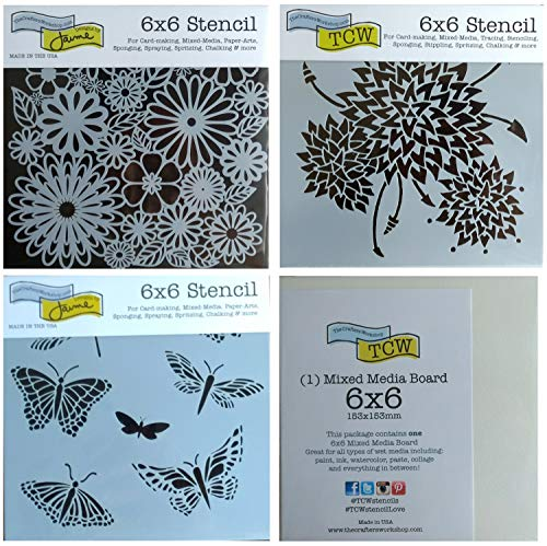 3 Crafters Workshop Mixed Media Stencils | Dahlia Zinnia, Wildflower, Butterfly, Dragonfly Theme | for Journaling, Scrapbooking, Arts, Card Making | 6 Inch x 6 Inch Templates Set with Board | 4 Items