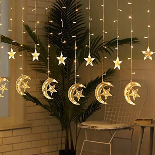 Deals 8Ft 138 LEDs Moon Star Lights, Ramadan Festival Window Curtain String Light Bright Stars Home PartyLights Decorative Garden Bedroom Outdoor Indoor Wall Decorations (White)
