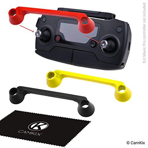 CamKix Transport-Clips Kompatibel mit DJI Mavic/Platinum - Fernbedienung Schutzabdeckungen für den Steuerknüppel - Thumbstick-Schutzhalterungen - 3er-Pack, Schwarz, Gelb und Rot