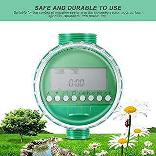 LCD Display Automatic Intelligent Electronic Water Timer Rubber Gasket Design Solenoid Valve Irrigation Sprinkler Controller - Green