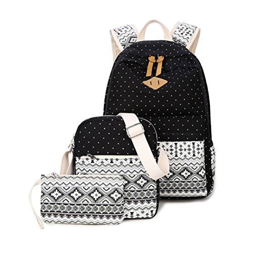3 Teile Set Schulrucksack Mädchen/Damen, Rucksack Schule/Schulranzen + Schultertasche/Messenger Bag + Mäppchen/Purse-Typ B schwarz