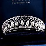 Cvthfyky Princesa Real Wang Tiara joyería Nupcial Boda Micro-Set circón Perla Corona Boda Accesorios (Color : Silver)