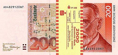 *** 10 x 200 DM, Deutsche Mark, Geldscheine 1989, mit Banderole - Reproduktion ***