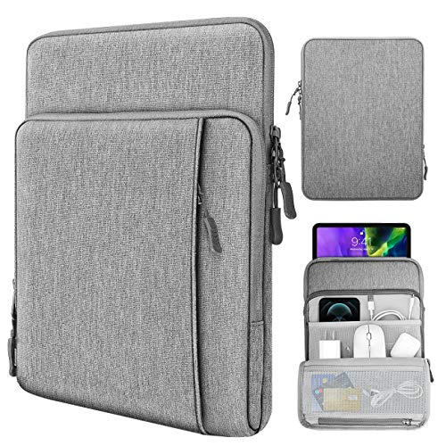 TiMOVO 9-11 Inch Tablet Sleeve Case for 2020 iPad Air 4 10.9,iPad Pro 11, New iPad 10.2, Galaxy Tab A7 10.4 2020, S6 Lite 2020, Surface Go 2/1, Fit Apple Smart Keyboard, Multiple Pockets, Gray