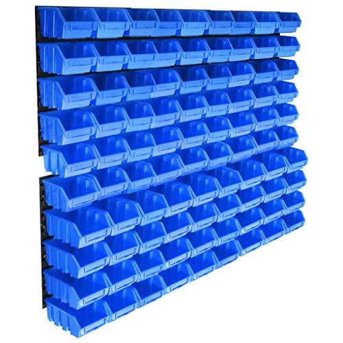 vidaXL Kit de Cajas de Almacenaje 96 Piezas con Paneles de Pared Sistema de Almacenaje de Herramientas Estantería de Bricolaje Azul