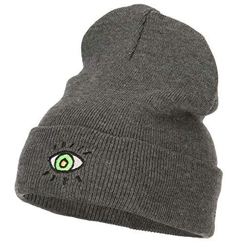 e4Hats.com Green Eye Embroidered Long Beanie - Dk Grey OSFM