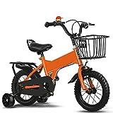 ZEMENG Bicicleta para niños, niños niñas niño Bicicleta, Bicicleta de Altura Ajustable para niños con Cesta Desmontable Durante 2-7 años,Naranja,12'