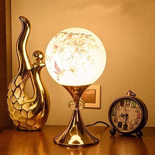 CMMT Lámpara de escritorio de gama alta dormitorio caliente mesita de noche lámpara de mesa pastoral romántica boda pintado a mano patrón cálido color esférico control remoto