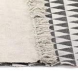 GJEFEGS vidaXL Kelim-Teppich Baumwolle 120x180 cm mit Muster Schwarz/Weiß - 4