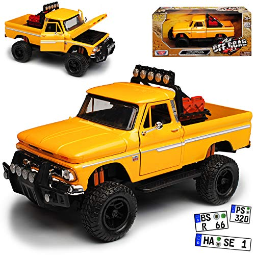 Motormax Chevrolet C10 Fleetside Pick-up Offroad Truck Gelb 1/24 Modell Auto