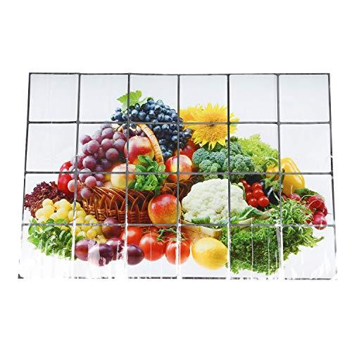WANWE 60 x 90 cm papel pintado cocina decoración anti aceite autoadhesivo azulejo papel de pared patrones: frutas