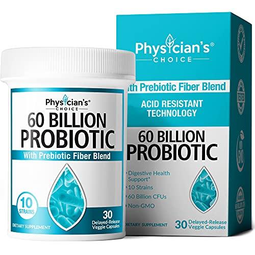 Probiotics 60 Billion CFU - Probiotics for Women, Probiotics for Men and Adults, Natural, Shelf Stable Probiotic Supplement with Organic Prebiotic, Acidophilus Probiotic