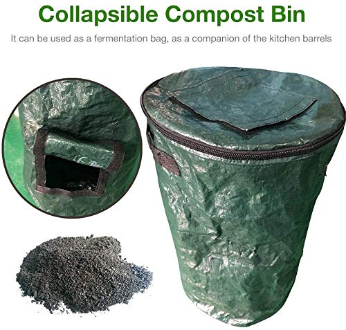 New Zxcv Garden Compost Bin, Collapsible Composter Bin Organic PE Yard Waste Bag, Planter Kitchen Wa...