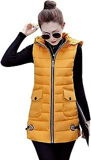 KINDOYO Womens Gilet - Large Size Zip Slim Down Cotton Sleeveless Gilet