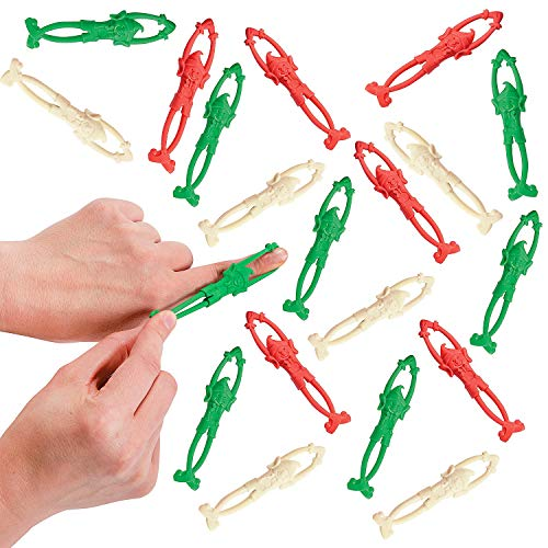 Christmas Sticky Stretchy Flying Elves (24 Pack) Christmas Party Favors for Kids, Fun Xmas Stocking Stuffers, Gifts for Boys & Girls Bundled with Stickers By 4E's Novelty