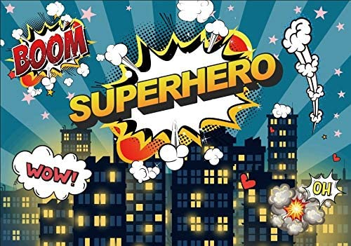 Sky City Super Hero Background Baby Newborn Portrait Photography Birthday Party Backdrops D/écor Background Banner Video Shooting Photography Studio Vinyl Wallpaper Comic Cartoon Portrait Colla