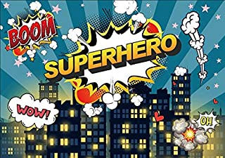 Yeele 10x8ft Little Superhero Backdrop Comic City Night Scene Building Background for Photography Boy Girl Children Birthday Baby Shower Party Banner Photo Booth YouTube Video Shoot Studio Props