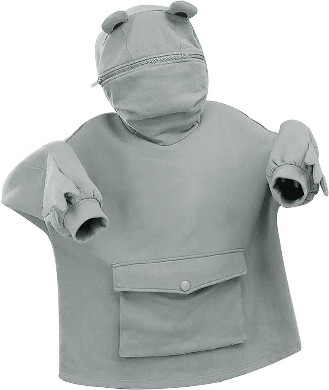 Cute Frog Hoodie Pullover for Womens Teens Girls Animal Cosplay Hoody Tops Kawaii Hooded Sweatshirt with Large Pocket