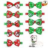 Aipaide Collar de Navidad para Mascotas 9 Piezas Collar de Perro de Navidad Corbata de Moño, Disfraces de Navidad para Mascotas