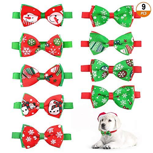 Aipaide Weihnachten Haustier Halsband 9 Stück Weihnachten Hunde Halsband Krawatte Bowtie Katze Fliegen Halsbänder Weihnachten Haustier Kostüme