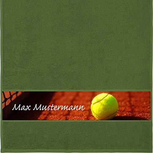 Manutextur Handtuch mit Namen - personalisiert - Motiv Sport - Tennis - viele Farben & Motive - Dusch-Handtuch - dunkelgrün - Größe 50x100 cm - persönliches Geschenk mit Wunsch-Motiv und Wunsch-Name
