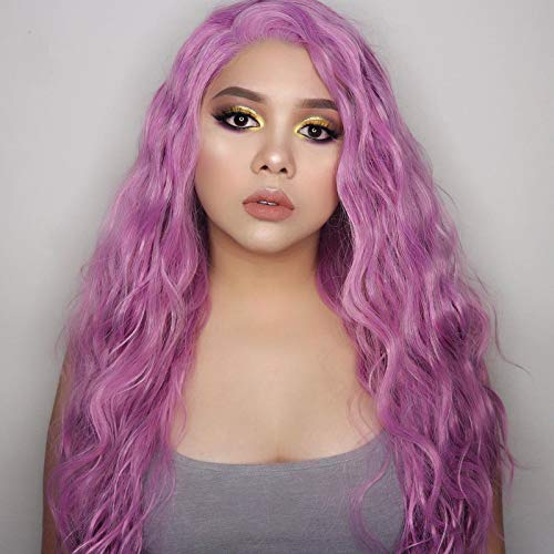"""Imeya Light Purple Loose Curly Wig 24"""" Pastel Purple Synthetic Lace Front Wigs For Women Middle Parting Long Wavy Wig Natural Looking Heat Friendly Fiber Violet Wig 150% Density (24 Inches)"""