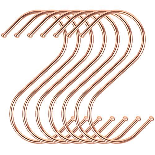 SONGMICS Gancho-S, Paquete de 20, Gancho Estable de Metal en Forma de S, Colgador, Multifuncional para Cocina, Sótano para Hobby, Garaje, Taller, Baño, Jardín, Oro Rosa CRI62R