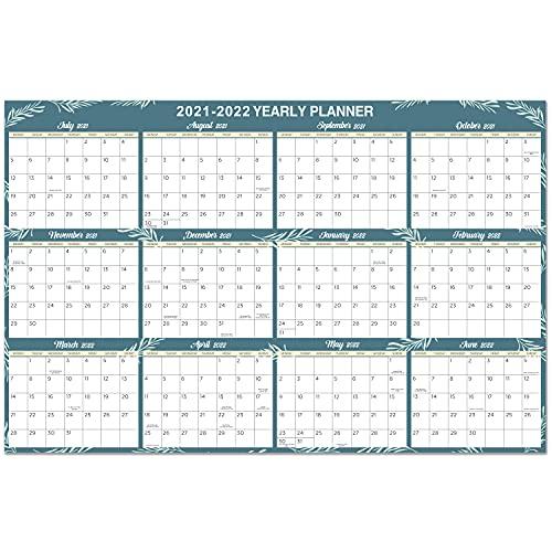 Calendario de Pared 2021-2022, Calendario de Gran Tamaño 2021-2022, Calendario Planificador Anual para 2021-2022, 88 x 57 cm, No laminado