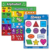 3 Pack - ABC Alphabet + Numbers 1-10 + Shapes Poster Set - Toddler Educational Charts (Laminated, 18' x 24')