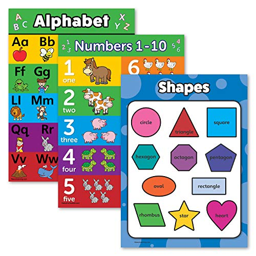 """3 Pack - ABC Alphabet + Numbers 1-10 + Shapes Poster Set - Toddler Educational Charts (Laminated, 18"""" x 24"""")"""