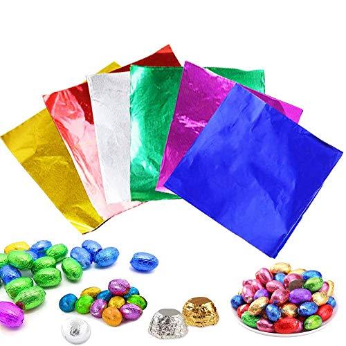 Carta Stagnola Colorata, 600 Foglio Involucri di Cioccolato Caramelle, Imballaggio Foglio di Alluminio per Cioccolato, Caramelle, Cibo Fai da Te, Torte, Foglie di tè (6 Colori)
