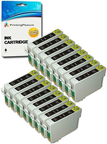 16 XL hohe Kapazität Tintenpatronen kompatibel zu Epson T0711H (13.5ml) für Stylus SX210 SX215 SX218 SX405 SX410 SX415 SX515W SX600FW D120 DX7400 DX7450 Office B40W BX300F BX310FN BX610FW - Schwarz