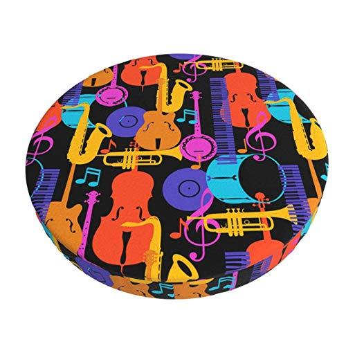 XJ-JX - Copertura rotonda per sgabello da bar con musica jazz, 30 cm, antiscivolo, in morbido velluto, traspirante, per ristorante, bar, hotel