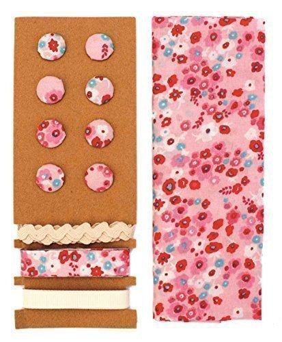 LILI ROSE Jeu de textile Rose-bleu fleurs 48x48cm rubans 3x1m 8 boutons