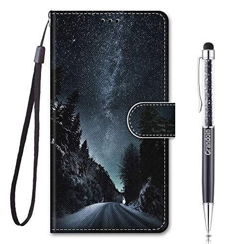 Grandoin Coque pour Samsung Galaxy Note 20 Ultra 5G / 4G, Mode Créatif Effet Modèle Désign Étui de Protection Housse en PU Cuir avec TPU Silicone Souple Phone Case (Ciel Etoilé)