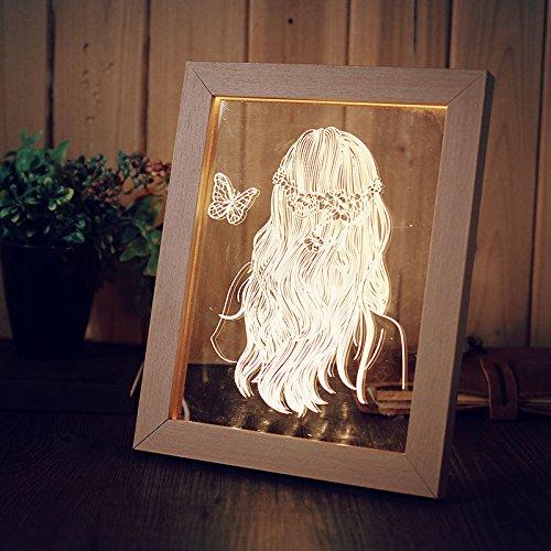 Bureze KCASA FL-716 - Marco de Fotos 3D con luz LED Nocturna para niña (Madera)