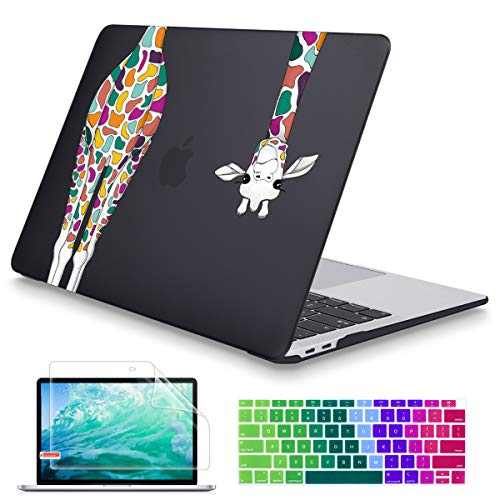 May Chen MacBook Air 13 inch Case 2020 2019 2018 Release A1932 A2179 A2337 M1,Soft Touch Hard Shell Cover for 13 inch MacBook Air Case with Retina Display Touch ID,Black Colorful Giraffe