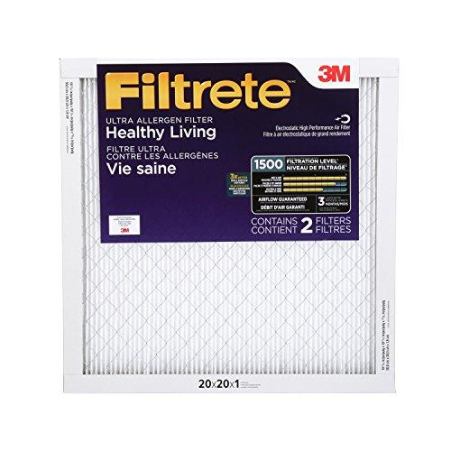 Filtrete MPR 1500 20x20x1 AC Furnace Air Filter, Healthy Living Ultra Allergen, 2-Pack