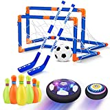 Hover Soccer Ball Set, 3-in-1 Hover Hockey Bowling Set for Kids, Rechargeable Floating Air Soccer Ball w/ Led Lights for Indoor Outdoor Sports Game Toys Gifts for Kids Boys Girls Ages 3 4 5 6 7 8-12